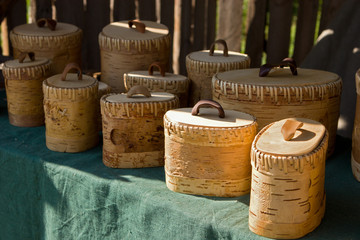 Boxes made from birchbark
