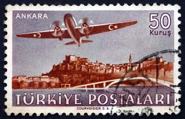 Postage stamp Turkey 1949 Plane over Ankara