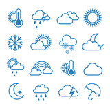 Set of outline weather icons