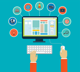 Business infographics by using modern of digital devices or web