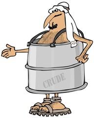 Poor Arab in a barrel