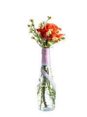 flower on plastic bottle isolated on white