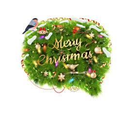 Merry Christmas Speech Bubble. EPS 10