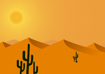 Vector : hot and dry desert background