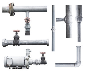 pump, pipeline, and valve isolated on white