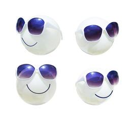 sunglass on plastic lamp as smile emotion