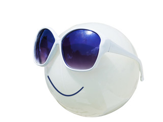 sunglass on plastic lamp as smile emotion