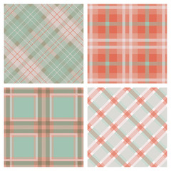 Set of Seamless Tartan & Checkered Plaid Patterns.