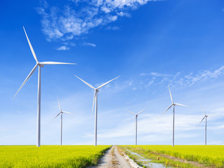 windmill in the rice field on blue sky background