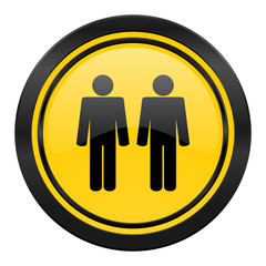 couple icon, yellow logo, people sign, team symbol