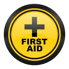 first aid icon, yellow logo