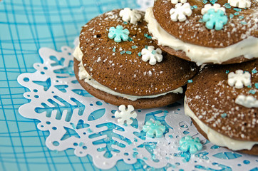 whoopie pie with snowflake sprinkle
