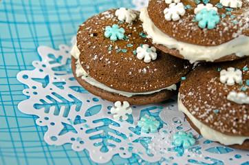 whoopie pie with snowflake sprinkle