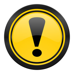 exclamation sign icon, yellow logo, warning sign