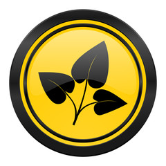 leaf icon, yellow logo, nature sign