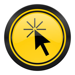 click here icon, yellow logo