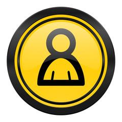 person icon, yellow logo