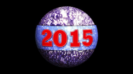 2015 New Year on Fiery Disco Ball Background