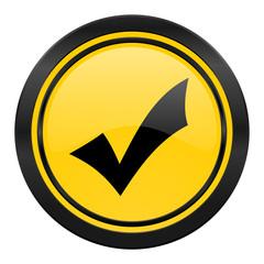 accept icon, yellow logo, check sign