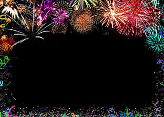 Feuerwerk, Konfetti und Luftschlangen