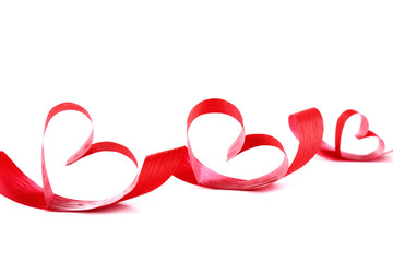 Ribbon shaped as hearts isolated on white background