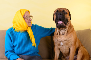 senior woman with big dog