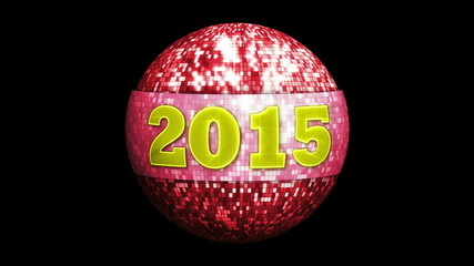 2015 New Year on Disco Ball, with Alpha Matte