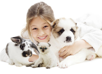 child and puppy and kitten and rabbit