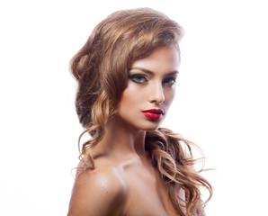Beautiful young woman with classy makeup and hair