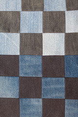 background of squares sewn denim