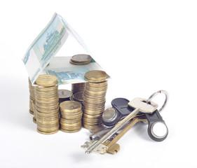 Домик из денег и монет ключи от квартиры