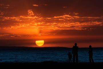 sunset over the lake or sea Alakol, Kazakhstan