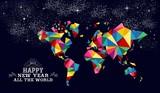 Fototapety New year 2015 world map card