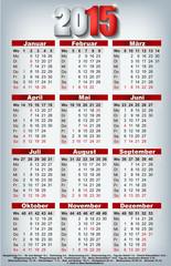 Kalender 2015 Visitenkartenformat
