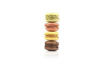Macaroons on white background
