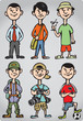 Cartoon man figures in various leisure activities
