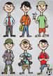 Cartoon man figures in various leisure activities