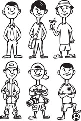whiteboard drawing - cartoon man figures_in_various leisure acti