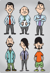 Cartoon figures of office people and freaks