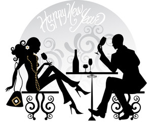 Happy New Year silhouettes