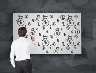 businessman  drawing money symbol