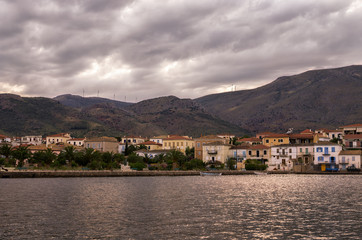 The historic town of Galaxidi, Greece, at dusk, on a cloudy day