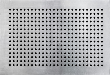 many holes on stainless steel plate