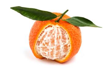 Frische Mandarine mit Blatt