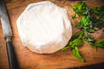 Smelly blue cheese on a wooden rustic table with knife and basil