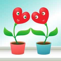 Heart shaped flowers in love. Valentine's day concept