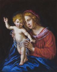 olio su tela di una giovane donna ed il suo bambino