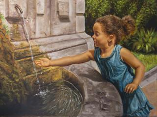 olio su tela di una bambina vicino ad una fontana