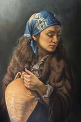 ritratto ad olio di una donna con un anfora tra le braccia
