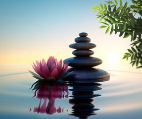Steine und Lotusblüte